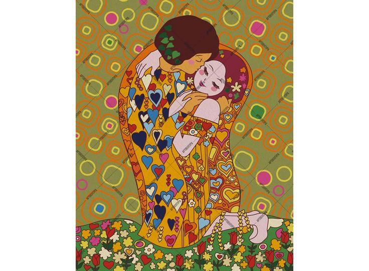 Картина по номерам, раскраска по номерам, paint by numbers, купить картину по номерам, Артвентура - Детский поцелуй по мотивам Климта - Zvetnoe.ru - картины по номерам, картина по цифрам