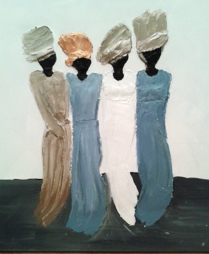 Afrikaanse vrouwen op canvas, nagemaakt van beeldjes