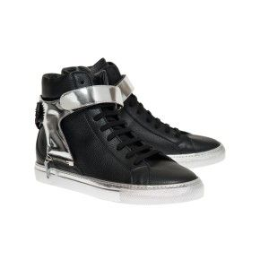 Herry black with silver sole and Silver strap with black eagle