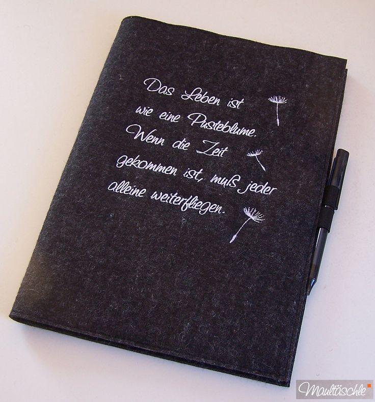 bestickte Filz-Schreibmappe: Das Leben ist wie eine Pusteblume