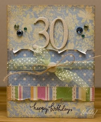 Shabby Birthday Card...with cardboard number for the years old, torn edges & ribbon...bibbis dillerier.