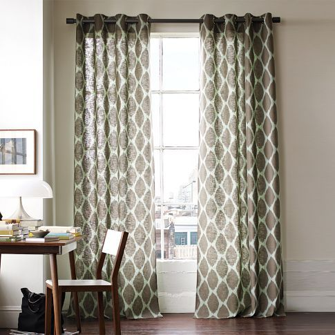 Dining Room Curtains Ikat Ogee Linen Window Panel West