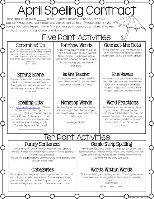 """Love it, ladies! It's great to work with such amazing teachers! """"April Spelling Contract Freebie.  An idea for using spelling centers next year?"""""""