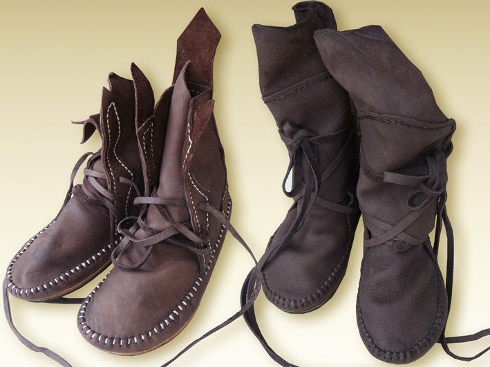 Leather moccasins.