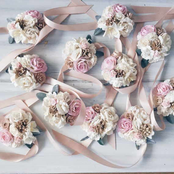 Pale pink & ivory Bridal braceletbridesmaid corsage by SERENlTY