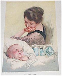 Vintage Harrison Fisher Print New Ruler Baby Boy & Mother (Image1)