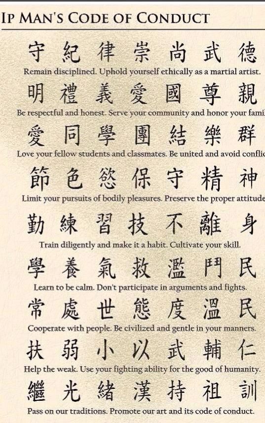 Master Ip man's code of conduct