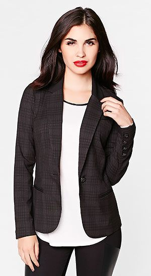 Add a chic edge to your office outfit with this plaid blazer.