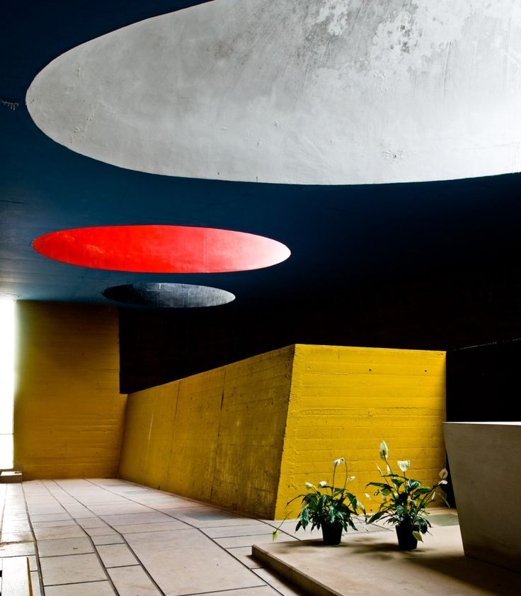 Inspiration from the Convent of La Tourette, Le Corbusier: Paint inner area of skylight in bright colour