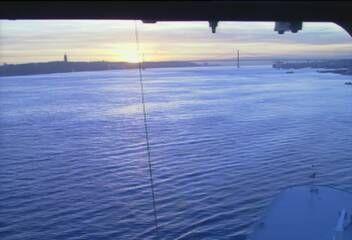 Queen Mary 2 - Bridge (Forward) Webcam / Camera departing Lisbon 9Dec2014 - sunset.