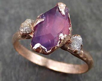Parcialmente facetado crudo zafiro diamante 14k rose oro compromiso boda personalizada uno de un tipo violeta piedras preciosas anillo tres piedra anillo 0532