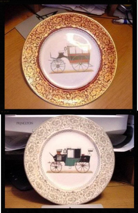 Pair Salem Imperial Service Chargers Carriage Line vintage dinnerware home decor housewares Ohio River Pottery