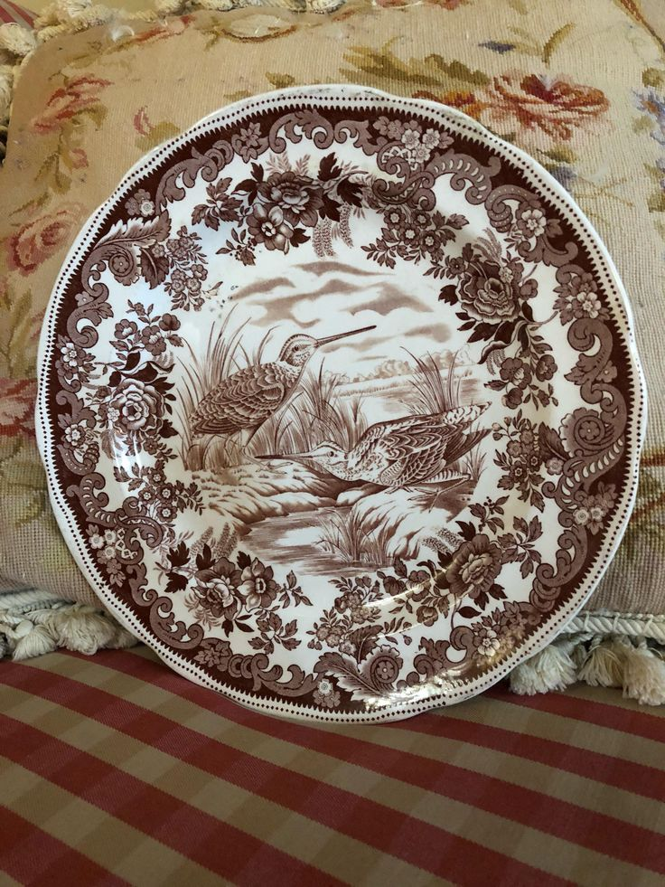 English country Hunting Birds Snipe Spode Copeland plate by FrenchCountryGirl on Etsy