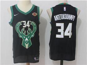 dd2afb70014 Milwaukee Bucks  34 Giannis Antetokounmpo Black Authentic Jersey ...