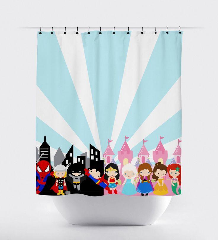 superhero princess shower curtain, blue and pink, princess shower curtain, superhero shower curtain, superhero, princesses, twins, girl boy by PrintArtShoppe on Etsy https://www.etsy.com/listing/255752474/superhero-princess-shower-curtain-blue