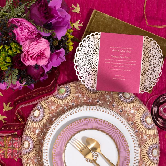 #4: Eclectic Elegance: Bold berry tones and global-chic details make for an original black-tie celebration featuring a bit of bohemian flair. http://www.theperfectpalette.com/2014/04/help-plan-million-dollar-wedding-vote.html