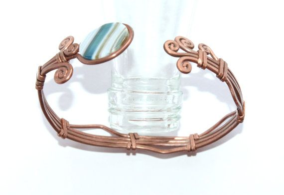 copper esclava bracelet with Agate/arm by ArtePora on Etsy