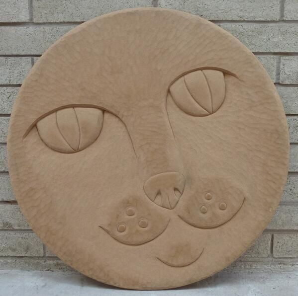Carved wooden former for aluminium casting . part of Alhambra Cat sculpture, Barnsley Town Centre. Artist Coralie Turpin - Thomson