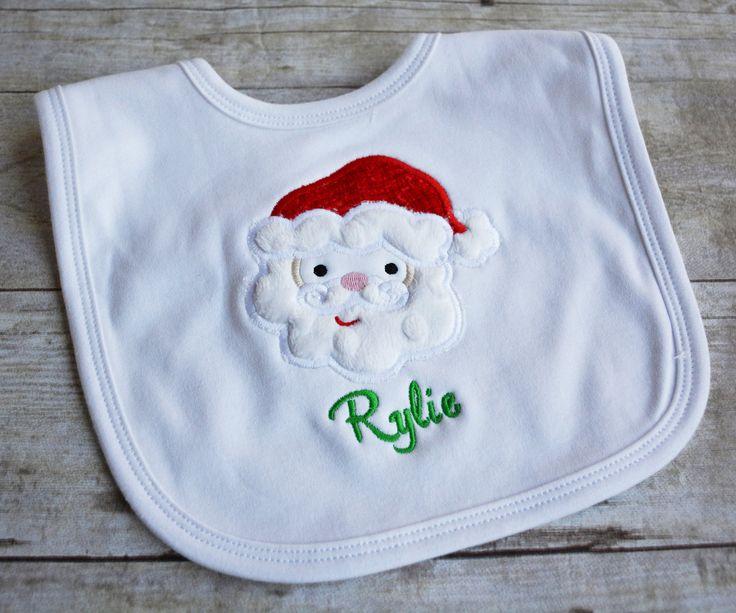 Santa Applique Baby Bib
