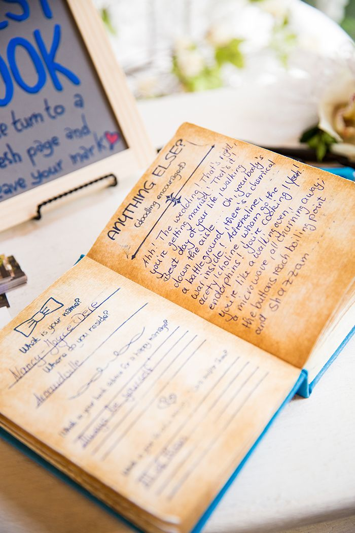 I like the idea of a guestbook that holds a bit more than just names. | Cara   Stew's Doctor Who Themed Wedding