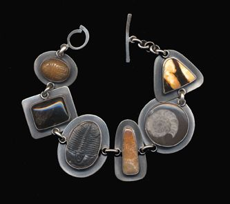 Jewelry: Bracelet, Fossil Coral, Fossil Peanutwood, Aragonite, Black Onyx, Trilobite, Ammonite, Set in Sterling Silver, by Kay Seurat
