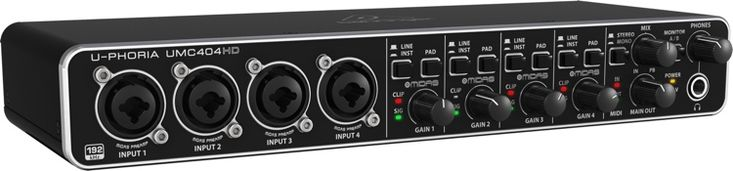 24-bit/192kHz, 4-in/4-out USB 2.0 Audio Interface with 4 MIDAS Preamps, Phantom Power, Inserts, and MIDI I/O
