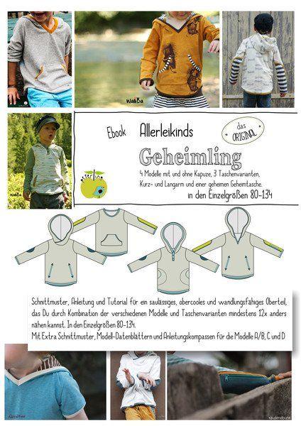 """Nähanleitungen Kind - EBook """"Geheimling"""" Shirt Gr. 80-134 Allerleikind - ein Designerstück von Eulenmeisterei-Biostoffe bei DaWanda"""