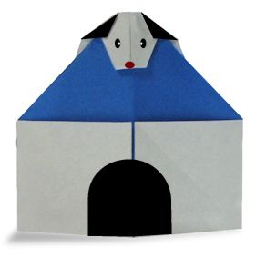 Origami Dog on kennel