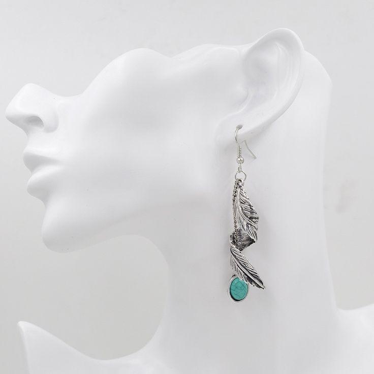 $10 Turquoise Natural Stone Bohemian Silver Leaf Dangle Earrings