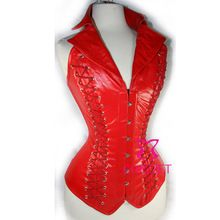 Red Faux Leather  Lace Up Back Steel Boned Goth Steampunk Collar Corset Bustier Top Women Burlesque Corselete Corselet Corpete //Price: $US $36.39 & Up To 18% Cashback //     #gothicoutfit