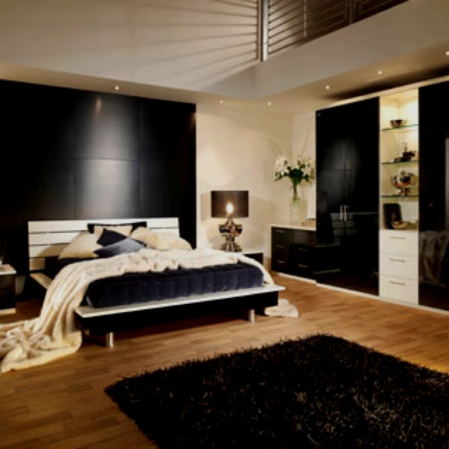 I love these black and white modern rooms  Dormitorios  Pinterest  영감, 침실 ...