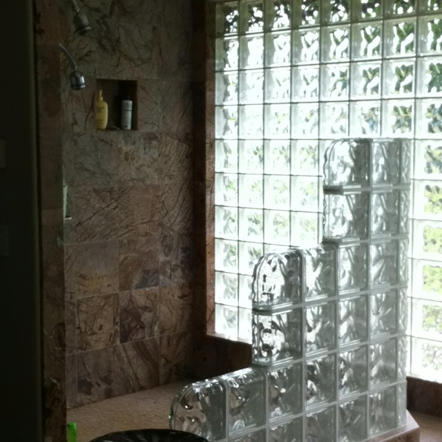 Solid glass brick wall. I want one!