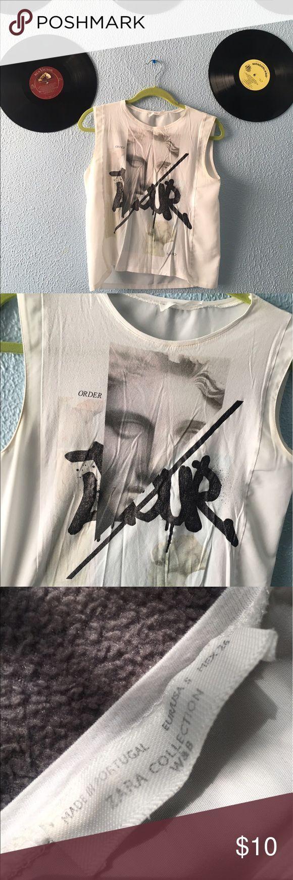 ZARA TShirt Zara TShirt with logo, distressed. Zara Tops Tees - Short Sleeve