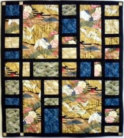 Asian Screens quilt - large panels with sashing and beautiful complimentary blocks
