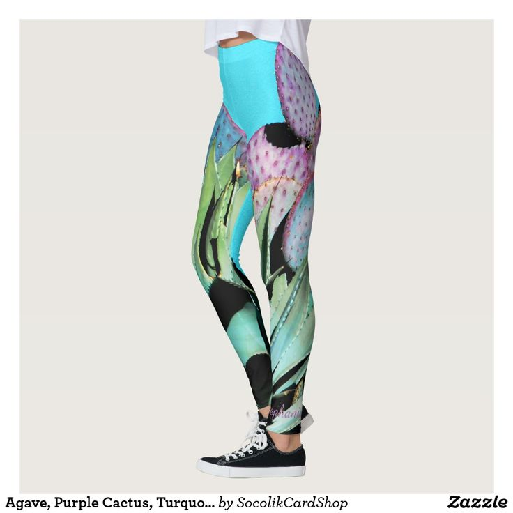 Agave, Purple Cactus, Turquoise, Personalized Name Leggings These unique, FUN southwest leggings are decorated with our original photo of an agave and purple prickly pear cactus against a turquoise background. Name is on Left Ankle, easily personalized. All Rights Reserved © 2016 Alan & Marcia Socolik.