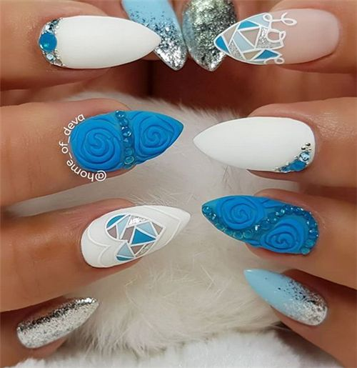 Alluring Acrylic Stiletto Nails Art Design In Summer