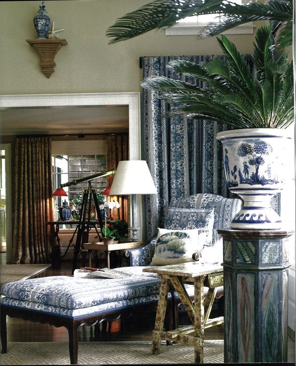 I would love to have her blue & white things, especially the urn with the sago! Charlotte Moss home East Hampton