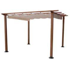 10' x 10' Retractable Wood Gazebo - Put a cocktail bar underneath :) http://gazebokings.com/100-best-wooden-gazebos-for-sale/