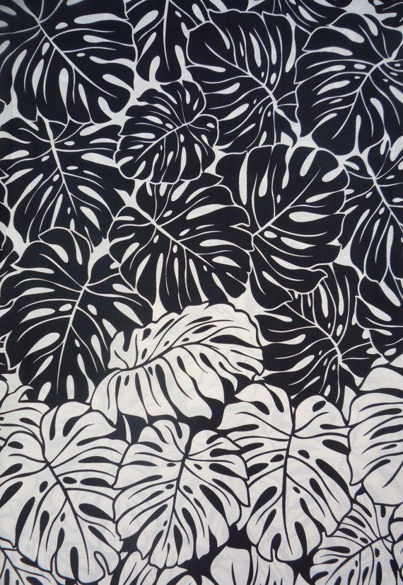 Hawaiian Black/White/Tan Leaf Fabric; bar stools?  Accent pillows? Porch? Den/LR?