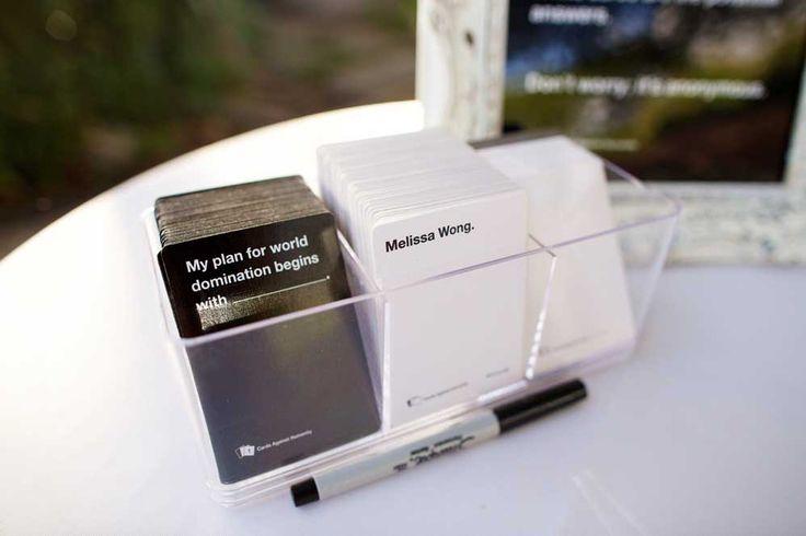 LOVE this wedding idea-- personalized cards against humanity game-- GENIUS! Anna Kim Photography