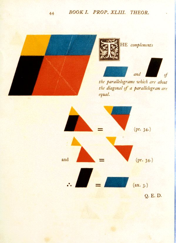 1847 Modernism    The First Six Books of the Elements of Euclid, in which Coloured Diagrams and Symbols are used instead of Letters for the Greater Ease of Learners. By Oliver Byrne. 1847
