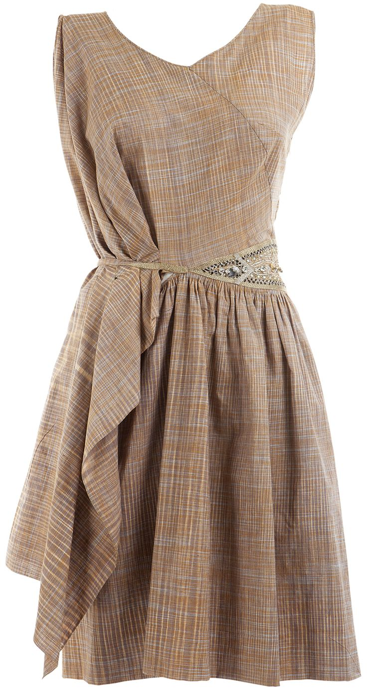 James Ferreira  Khadi pleated dress with embroidered waistband.Back is gorgeous