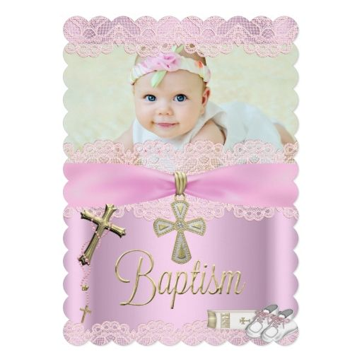 1813 best baptism christening invitations images on pinterest baptism pink cross girl lace christening 5x7 paper invitation card stopboris