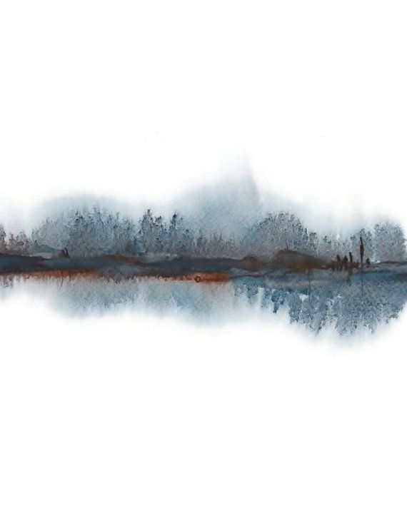 Modern Landscape Print of Abstract Watercolor Painting. Grey, Black, Brown.  To see this print in a horizontal format (landscape), please see