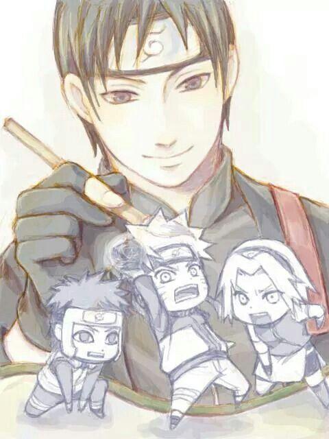 Sai drawing Yamato, Naruto, and Sakura