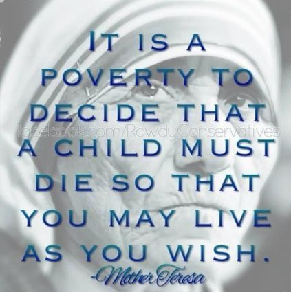 Mother Teresa - a wonderful role model. Perhaps we should start taking heed of her advice and actions