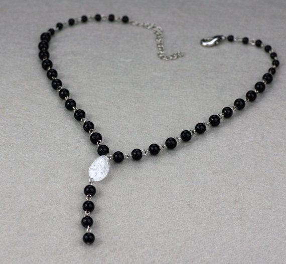 Collana di cristallo cristallo nero Y lariat di AnniDesignsllc