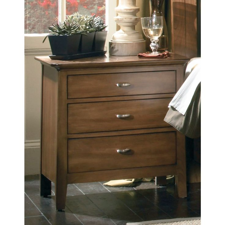 Solid cherry nightstand crafted into a beautifully modern esthetic with a timeless appeal. Graceful, clean lines create a relaxed and inviting atmosphere perfect for your bedroom.