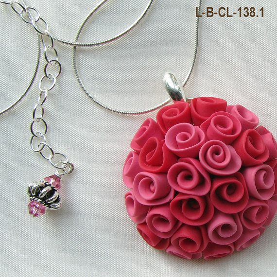 Polymer clay pink roses medallion necklace, Etsy listing at https://www.etsy.com/listing/96728948/rose-bouquet-pendant-necklace