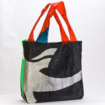 Upcycled Kite Tote Black  by bibi rogers. Handmade in Limited Edition's California workshop.